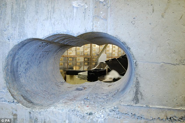 "The hole in the wall created by the ""Pensioner Burglars"" in Hatton Garden raid"